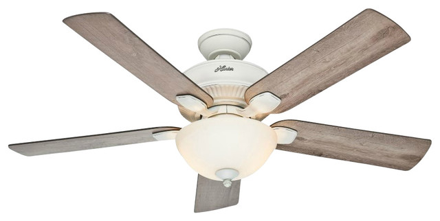Hunter 54091 Matheston 52 Inch Cottage White Ceiling Fan with 5 Grey ...