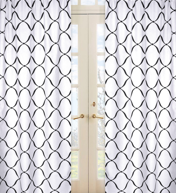 black and white 84 inch curtain panel pair contemporary