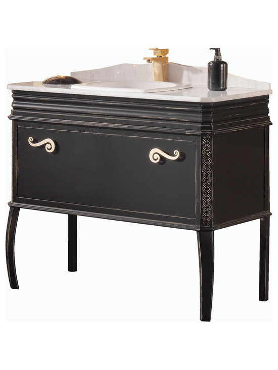 "Macral London 40"" traditional vanity bathroom. black-golden patina. -"