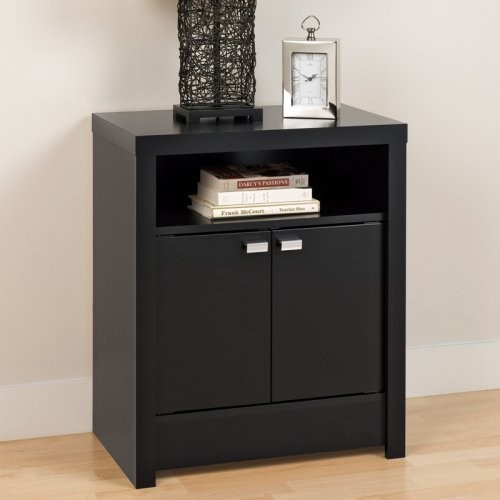 Series 9 designer collection 2 door tall nightstand black for Tall modern nightstands