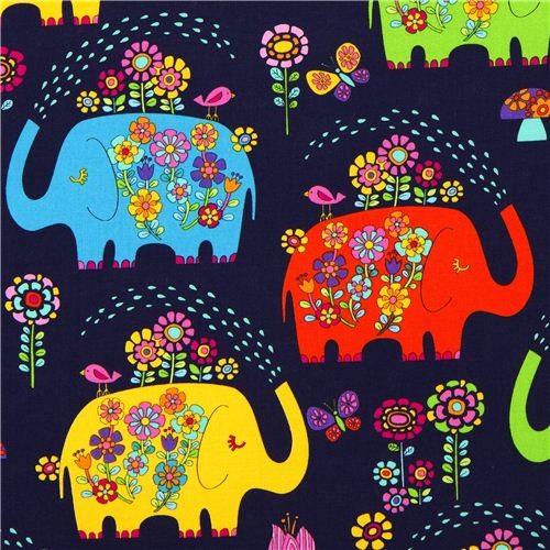 Dark blue elephant with flowers fabric timeless treasures fabric
