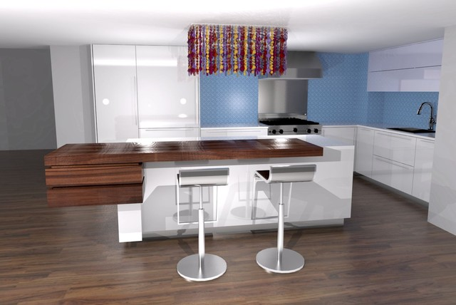 Kitchen Wuth High Gloss White Finish And Walnut Counter