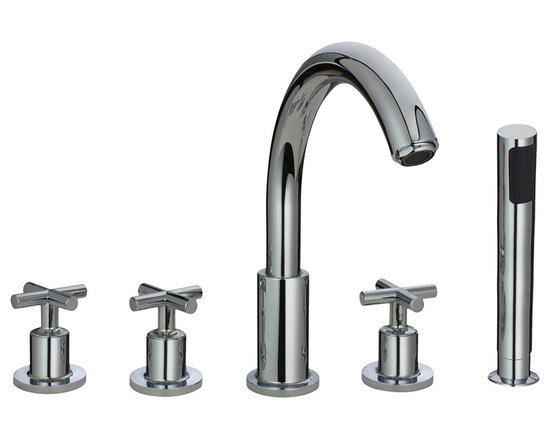 "MR Direct 716-c Chrome Roman Tub Faucet with Body Spray - The 716 Roman Tub Faucet with Body Spray is a wide spread tub faucet that is available in a brushed nickel, oil-rubbed bronze or chrome finish. This 3-hole faucet has a 6""-24"" centerset and comes with a body spray with an 84"" metal hose. The dimensions for the 716 are 12 1/8"" tall with a 9"" spout reach and it is ADA approved. The faucet is pressure tested to ensure proper working conditions and is covered under a lifetime warranty. The 716 faucet will add functional beauty to any bathtub."