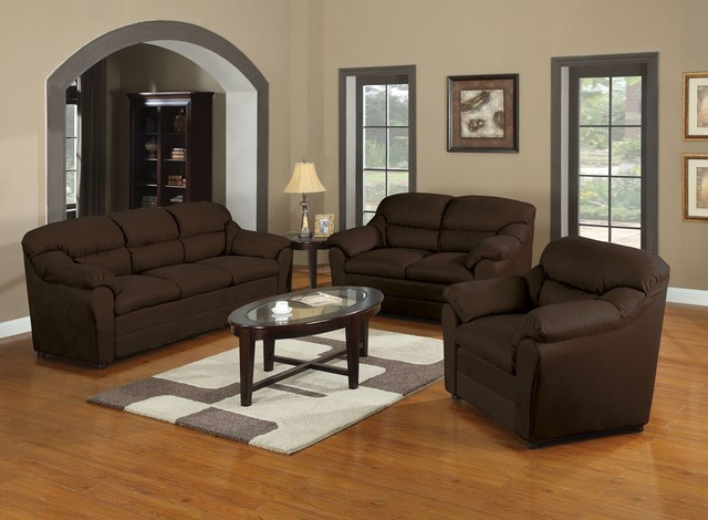 Acme Furniture Connell Chocolate Microfiber 3 PC Sofa Set AF 50175 SET
