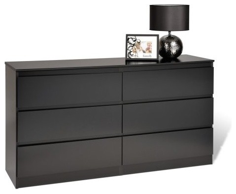 avanti 6 drawer dresser black modern dressers by