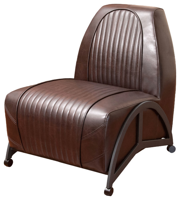 Racer Brown Leather Club Chair midcentury-living-room-chairs