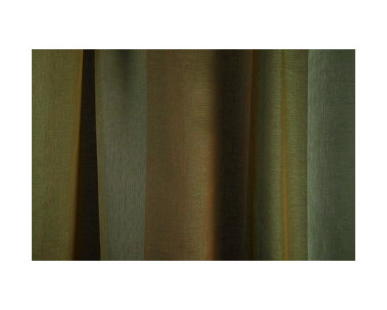 Linen Sheer Vertical Stripe Drapery in Moss - Linen Sheer Vertical Stripe Drapery Fabric in Moss Green. Striped fabric ideal for drapes, curtains, and other window treatments, or bed canopy.