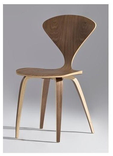 Modern Wooden Side Chair in Walnut Finish contemporary-living-room-chairs
