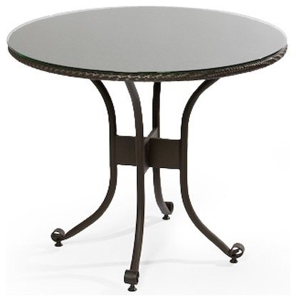 Alfresco Home Vento 48 in. Round All-Weather Wicker Glass Top Dining Table with contemporary-outdoor-tables