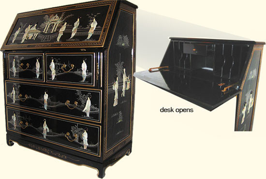 Oriental Secretary Desk Folding Writing Surface and Pearl Inlaid - Asian - Desks And Hutches ...