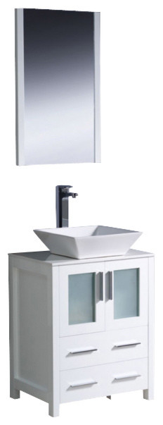 Fresca FVN6224WH VSL Torino 24 Inches White Bathroom Vanity With Vessel Sink