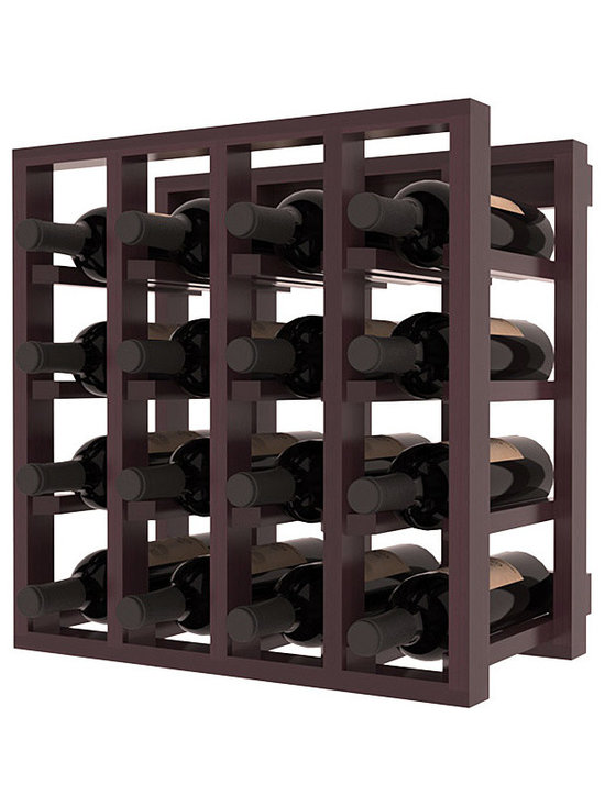 Lattice Stacking Wine Cubicle in Redwood with Burgundy Stain + Satin Finish - Designed to stack one on top of the other for space-saving wine storage our stacking cubes are ideal for an expanding collection. Use as a stand alone rack in your kitchen or living space or pair with the 20 Bottle X-Cube Wine Rack and/or the Stemware Rack Cube for flexible storage.