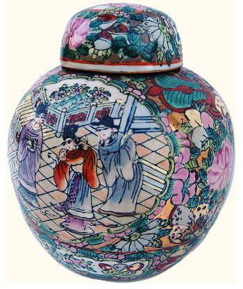 "6""H Hand Painted Porcelain Ginger Jar with Rosé Medallion Design asian-decorative-accents"