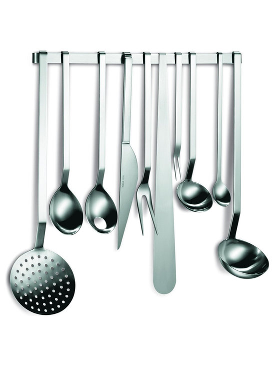 Mono - Gourmet Utensils - 10 + 1 Complete Set - Your bustling kitchen will get a little livelier — and lovelier — with this streamlined set of stainless steel kitchen utensils. Beautiful enough for display yet organized enough to be practical, this complete set is bound to inspire new gourmet experiments and culinary masterpieces.