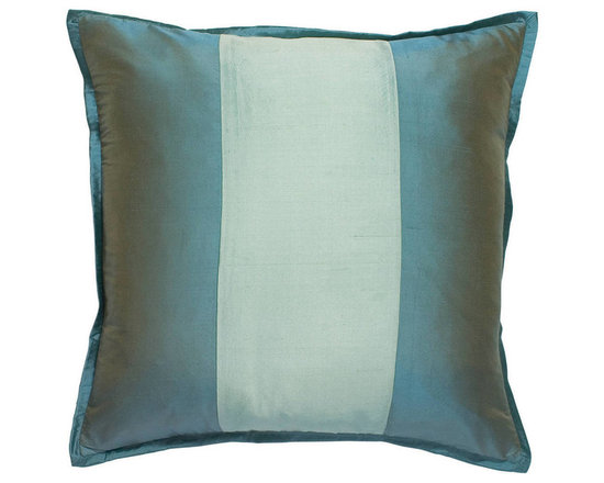 """Mystic Valley Traders Profiles Silk Turquoise - Euro Sham - The Profiles Silk Turquoise Euro sham is fashioned from the Aquamarine fabric, reversing to the Turquoise fabric, with a Seafoam center panel on front, and finished with a 1/2"""" Turquoise mitred flange; sold flat (without fills); 26""""x26""""."""