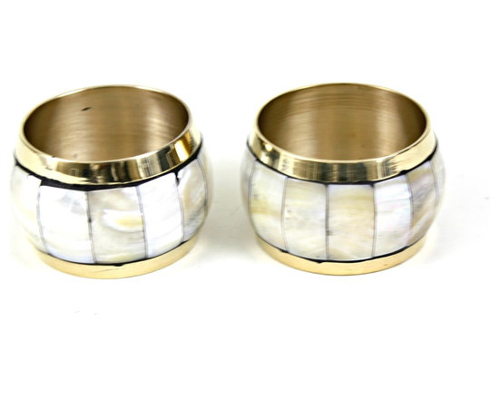 MarktSq - Mother Of Pearl Napkin Ring (Set Of 4) - Elegant brass napkin ring with MOP inlay. Sold as a set of 4.