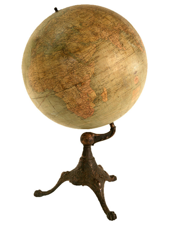 Terrestrial Table Globe - This 18 inches globe was sold by the American maker WEBER COSTELLO of Chicago ( a school supplies company) .The globe was made in England by the Johston company which had an distribution agreement with the US .