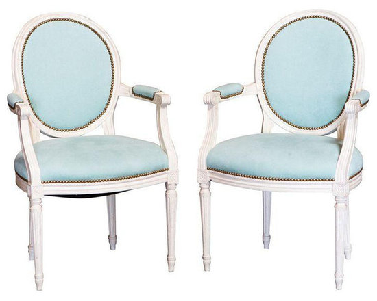Louis XVI Arm Chairs with Teal Upholstery - A Pair -