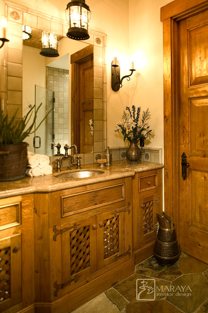 Distressed Cabinetry in Ranch Powder Room farmhouse-powder-room