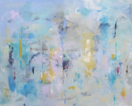 """Linda Donohue - Large Contemporary Abstract Expressionist Original Painting - Big Color City 48 - This is an original acrylic painting on gallery wrapped canvas. It measures 48""""w x 36""""h x 1 3/8""""d. The sides are painted a sand color from the front and it's ready to hang as it is or be put into a frame."""