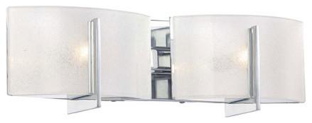 Clarte Chrome Two-Light Bath Fixture with White Iris Glass contemporary-bathroom-vanity-lighting