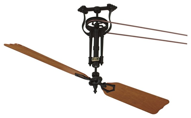 Arts and Crafts - Mission Fanimation Brewmaster Black Long Neck Ceiling Fan traditional-ceiling-fans
