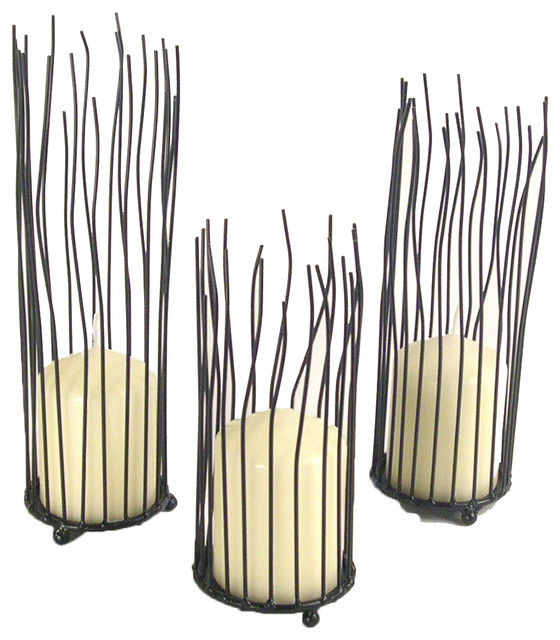Willow Iron Candleholders, Set of 3 contemporary-candles-and-candle ...