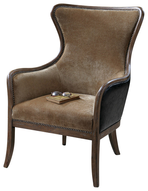 Uttermost Snowden Tan Wing Chair contemporary-accent-chairs