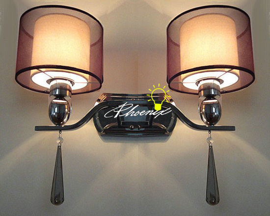 Gauze Fabric and metal Wall sconce and lights - 8 lights Gauze Fabric and metal Pendant Lighting in Chrome Finish