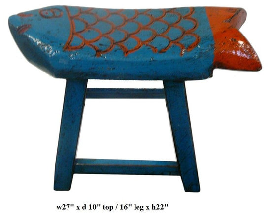 Eclectic Blue Orange Color Fish Wooden Stool - This is a wooden stool made into fish shape seat top and painted with blue & orange lacquer color.