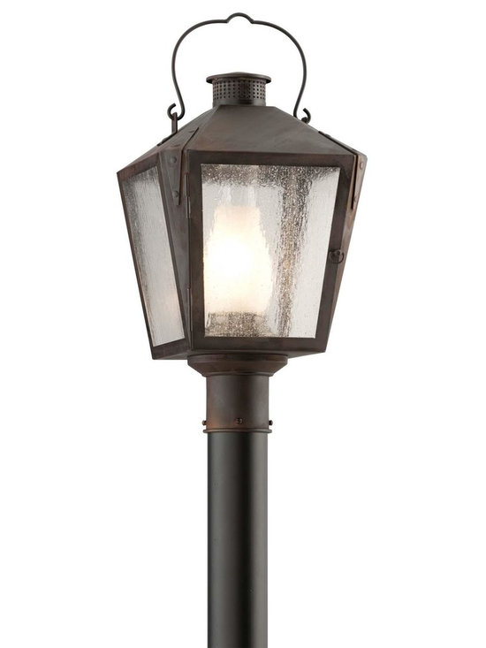 """Troy Lighting Nantucket Medium Post Lantern in Charred Iron - Troy Lighting presents the Nantucket Collection's lantern post light. This fixture comes in a Charred Iron finish, and is constructed from Solid Brass. Dimensions: 21"""" high by 11"""" wide."""