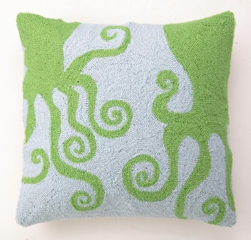 Green Octopus Hook Pillow contemporary pillows