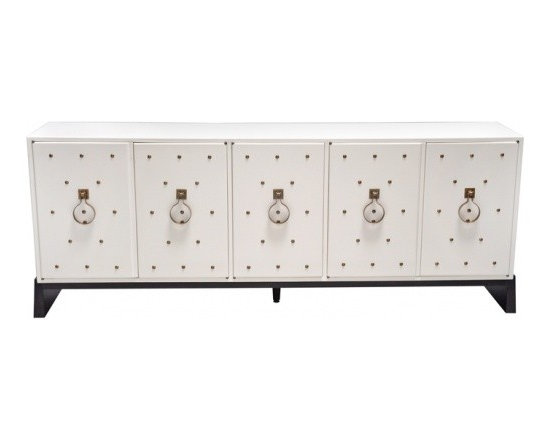 """Eco Friendly Furnture and Lighting - United States 1950 Designed by Tommi Parzinjger, this signed, """"Parzinger Original"""" has five doors and a rubbled cream lacquer finish. The base is stained dark wood. Features hand made brass pulls with brass studs"""