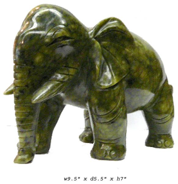 Natural Green Color Jade Stone Elephant Figure