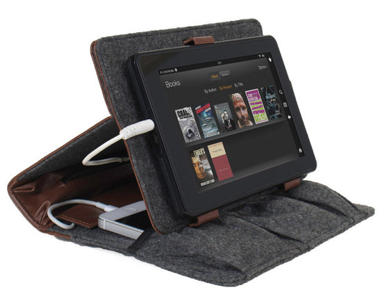 """Great Useful Stuff - Power Folio 3-In-1 - Rustic Modern - The Power Folio 3-In-1 acts as a case, stand and charging station for an iPad Mini, a Kindle or any other tablet up to 8"""" and up to 2 cell phones, for on-the-go users who need their devices charged and organized. With room for a power bank battery and a separate zippered pocket to hold excess cords, the compact design of this Folio is ideal for reading on a tablet and can convert into a terrific tablet stand to view your device at the perfect angle for working, playing or watching movies on a tablet. Power bank battery sold separately."""