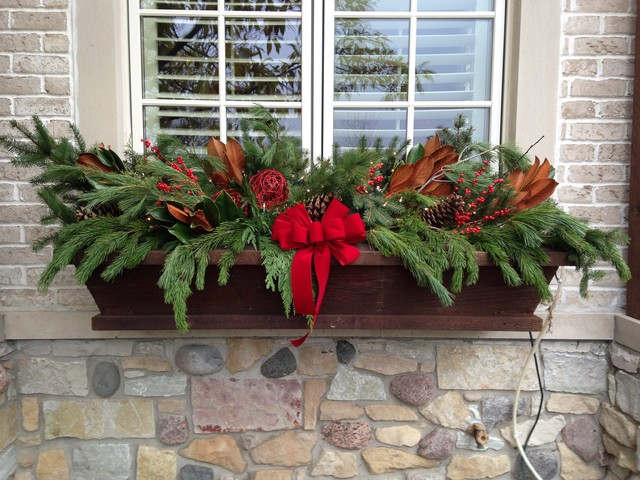 Winter Window Box Display - Traditional - Outdoor Holiday ...