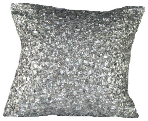 Silver Decorative Bed Pillows : Silver Sequins Poly Blend 20 x 20 Decorative Pillow - Contemporary - Decorative Pillows - by ...