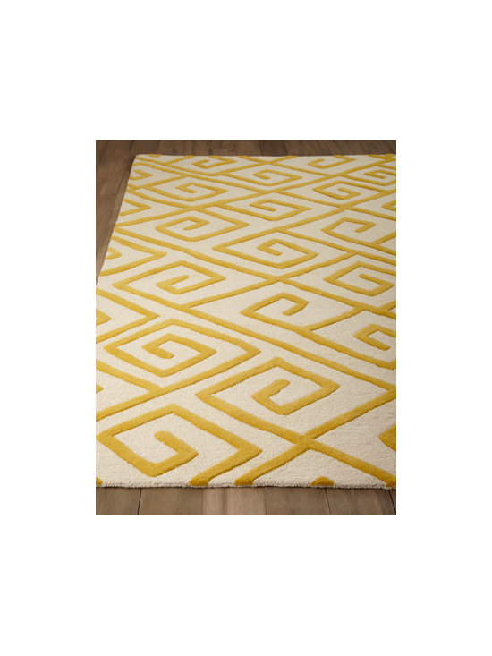 "Global Views - Global Views ""Greek-Key Maze"" Rug - The marriage of two motifs, this rug features a Greek-key pattern converted to a maze motif to add vibrant color and intriguing texture under foot. Hand tufted of wool. Jute backing. Sizes are approximate. Imported. See our Rug Guide for tips o..."