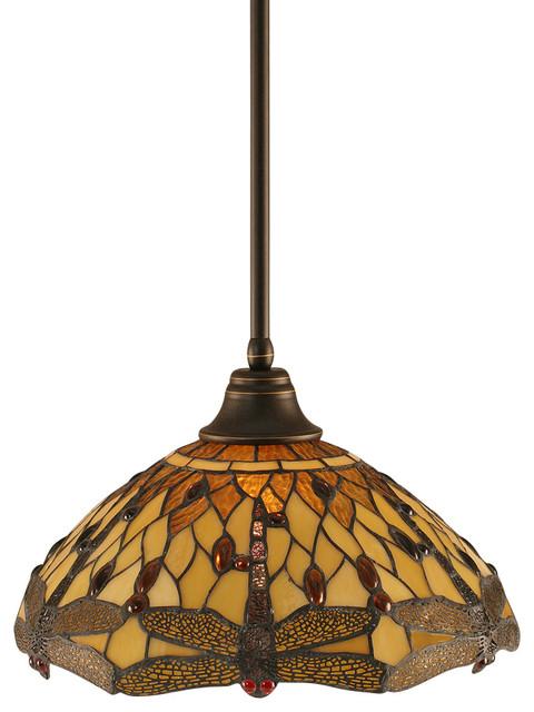 Toltec 26-DG-946 Stem Pendant Shown in Dark Granite Finish transitional-pendant-lighting