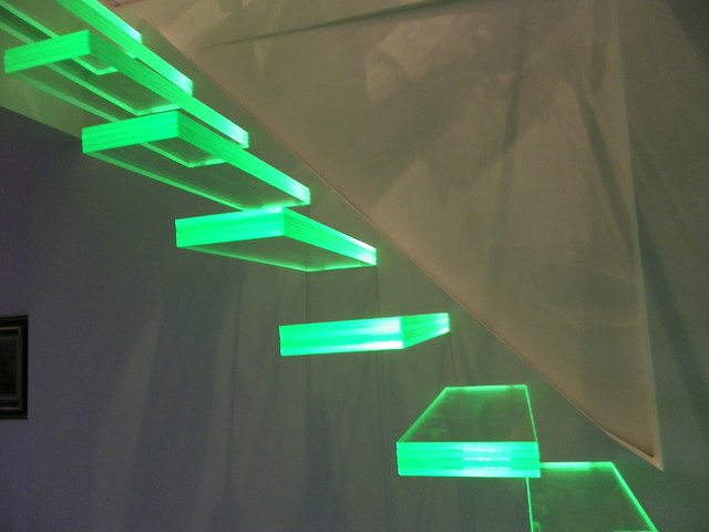 Aero floated staircase glass with light eclectic-staircase
