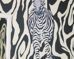 Hand Painted Zebra Wallpaper Mural modern