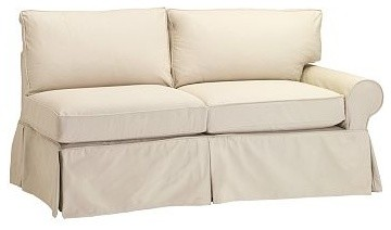PB Basic Slipcovered Right Arm Love Seat Slipcover, Box, Performance Canvas Whit traditional-living-room-chairs