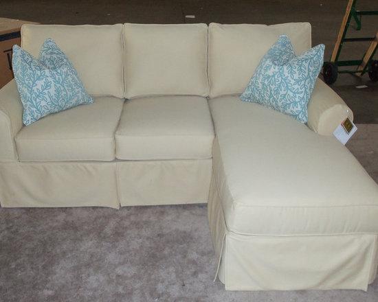 Customer Custom Orders - Rowe Nantucket Slipcover Sofa with Chaise Ottoman.  You Choose the Fabric.