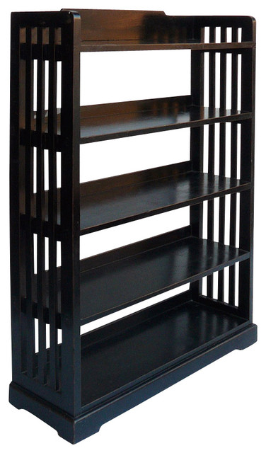 Black Lacquer Simple 5 Shelves Display Bookcase rustic-bookcases