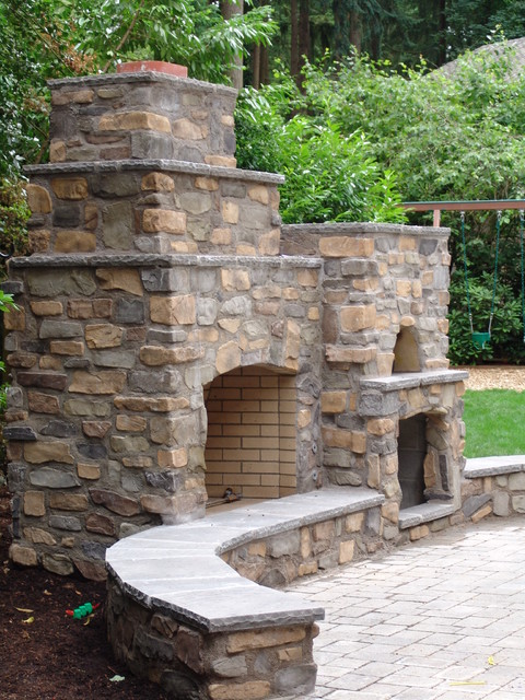Outdoor fireplace with pizza oven traditional patio portland by brown bros masonry - Outdoor stone ovens ...