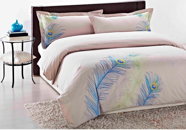Embroidered Peacock King-Size 3-Piece Duvet Cover Set contemporary-duvet-covers