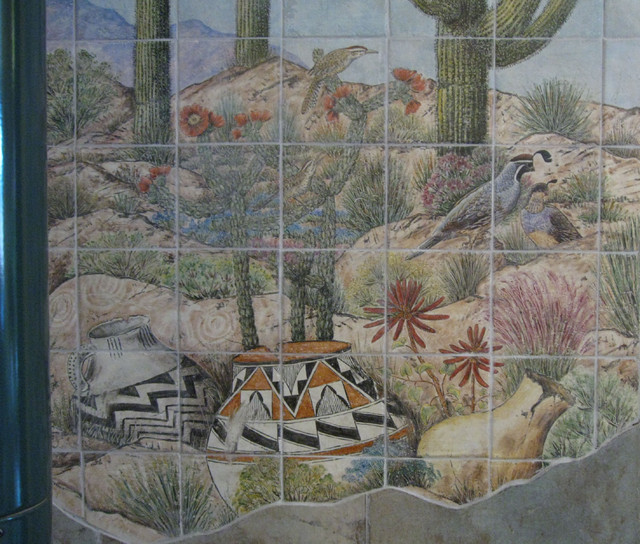 quot sonoran desert amp pottery scene quot woodstove wall tile mural landscapes photo wall tile mural 6 traditional tile