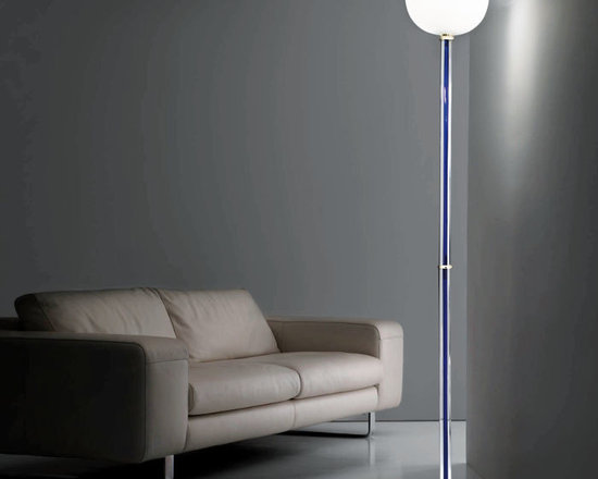 Venini - Tolboi Floor Lamp - Tolboi Floor Lamp features a Milk White shade and Crystal stem with Sapphire, Red, Tea, or Wisteria inside and a Brass base. The color in the stem is also wrapped around the top of the diffuser. One 150 watt, 120 volt A19 3-Way type medium base incandescent bulb is required, but not included. 11.82 inch width x 72.44 inch height.