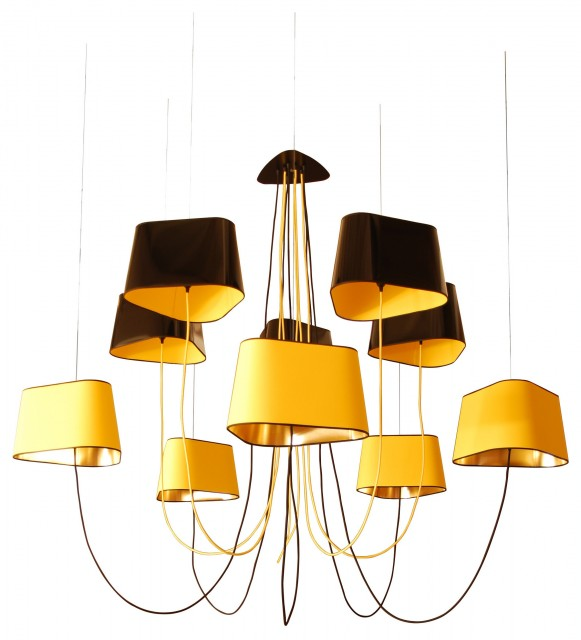 Grand Nuage Suspension - 10 shades Black - Yellow - Gold by Designheure eclectic-chandeliers