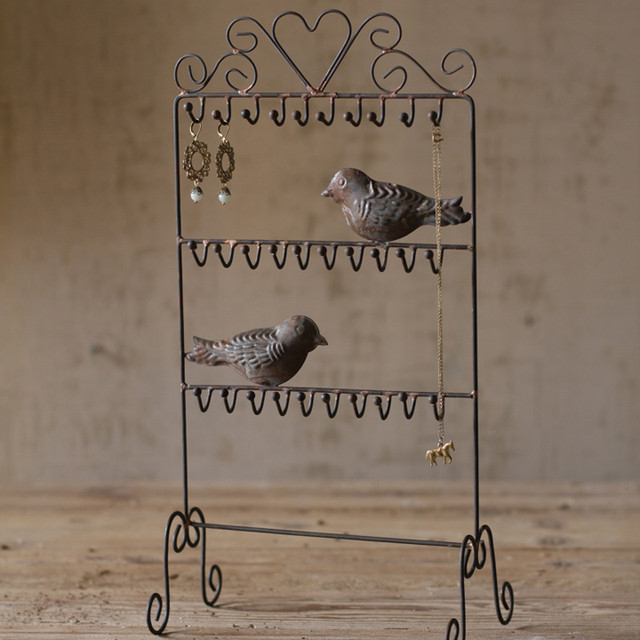 Bird Jewelry Stand - Raw Metal eclectic-jewelry-boxes-and-organizers